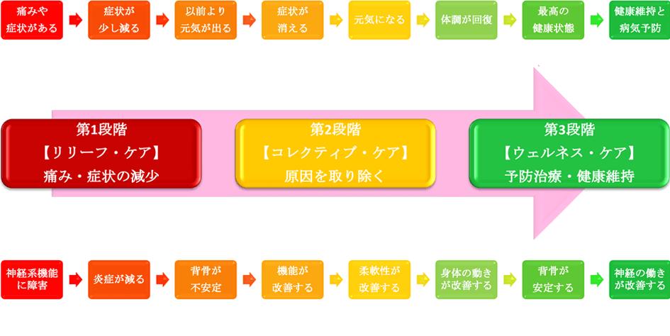 カイロプラクティックケアの段階チャート